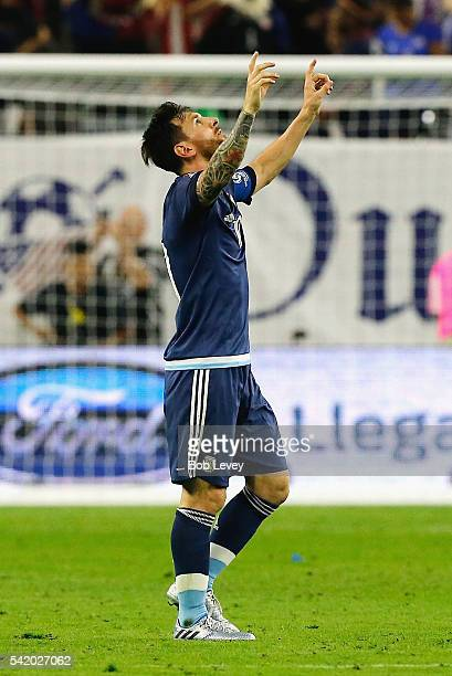 Lionel Messi of Argentina reacts after scoring a goal on a free kick in the first half against the United States during a 2016 Copa America...