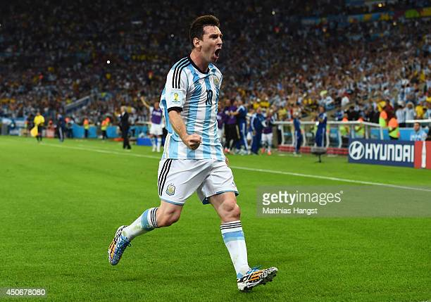 Lionel Messi of Argentina reacts after scoring his team's second goal during the 2014 FIFA World Cup Brazil Group F match between Argentina and...