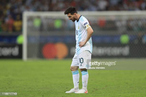 Lionel Messi of Argentina reacts after the Copa America Brazil 2019 Semi Final match between Brazil and Argentina at Mineirao Stadium on July 02 2019...