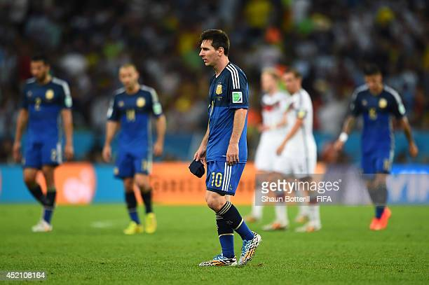 Lionel Messi of Argentina reacts at the end of normal time during the 2014 FIFA World Cup Brazil Final match between Germany and Argentina at...