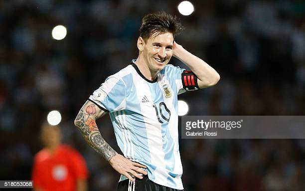 Lionel Messi of Argentina reacts during a match between Argentina and Bolivia as part of FIFA 2018 World Cup Qualifiers at Mario Alberto Kempes...