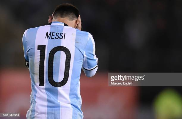 Lionel Messi of Argentina reacts during a match between Argentina and Venezuela as part of FIFA 2018 World Cup Qualifiers at Monumental Stadium on...