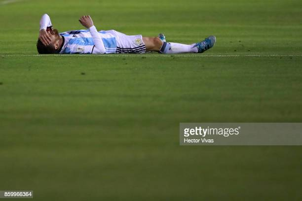 Lionel Messi of Argentina reacts during a match between Ecuador and Argentina as part of FIFA 2018 World Cup Qualifiers at Olimpico Atahualpa Stadium...