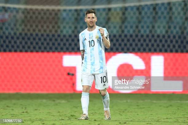 Lionel Messi of Argentina reacts during a quarter-final match of Copa America Brazil 2021 between Argentina and Ecuador at Estadio Olimpico on July...