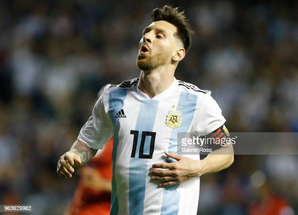 Lionel Messi of Argentina reacts during an international friendly match between Argentina and Haiti at Alberto J Armando Stadium on May 29 2018 in...