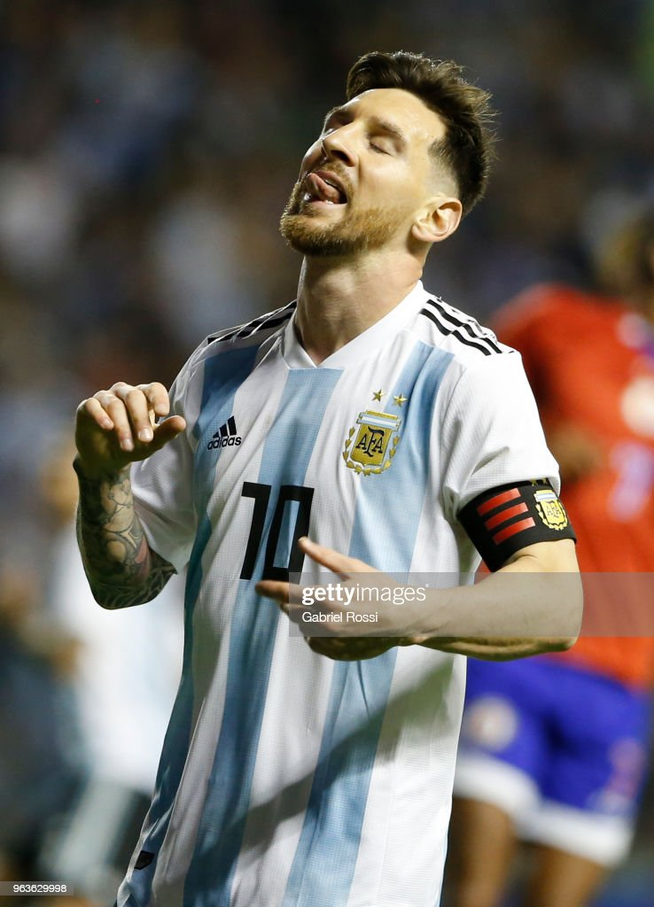 Lionel Messi of Argentina reacts during an international friendly match between Argentina and Haiti at Alberto J. Armando Stadium on May 29, 2018 in Buenos Aires, Argentina.