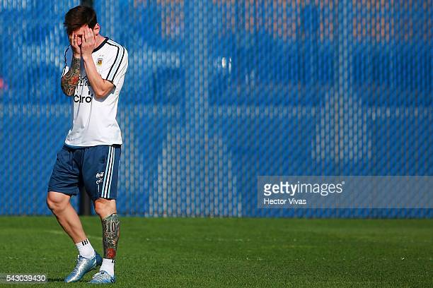 Lionel Messi of Argentina reacts during Argentina training session at Metlife Stadium on June 25 2016 in East Rutherford New Jersey United States