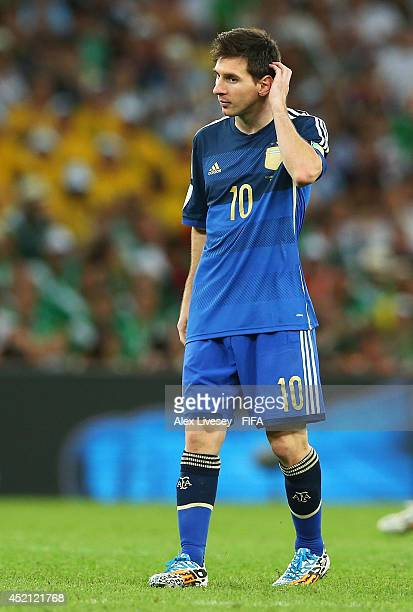 Lionel Messi of Argentina reacts during the 2014 FIFA World Cup Brazil Final match between Germany and Argentina at Maracana on July 13 2014 in Rio...