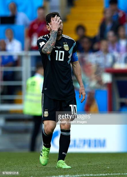 Lionel Messi of Argentina reacts during the 2018 FIFA World Cup Russia group D match between Argentina and Iceland at Spartak Stadium on June 16 2018...