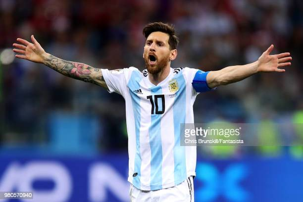 Lionel Messi of Argentina reacts during the 2018 FIFA World Cup Russia group D match between Argentina and Croatia at Nizhny Novgorod Stadium on June...