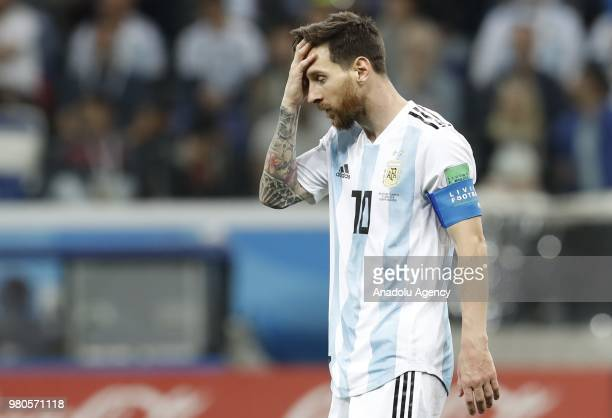 Lionel Messi of Argentina reacts during the 2018 FIFA World Cup Russia Group D match between Argentina and Croatia at Nizhny Novgorod Stadium in...
