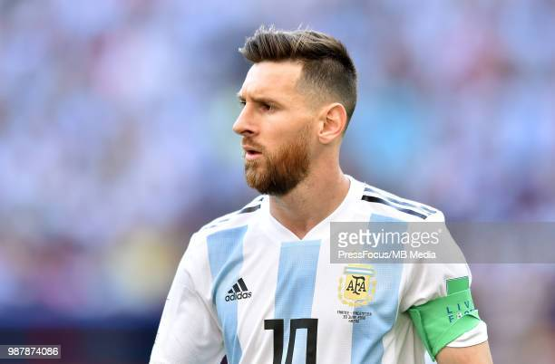 Lionel Messi of Argentina reacts during the 2018 FIFA World Cup Russia Round of 16 match between France and Argentina at Kazan Arena on June 30 2018...