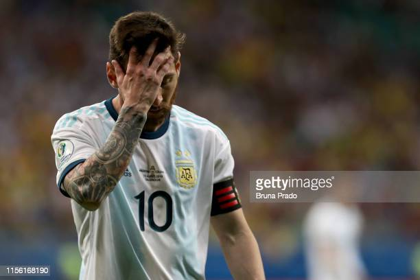 Lionel Messi of Argentina reacts during the Copa America Brazil 2019 group B match between Argentina and Colombia at Arena Fonte Nova on June 15,...
