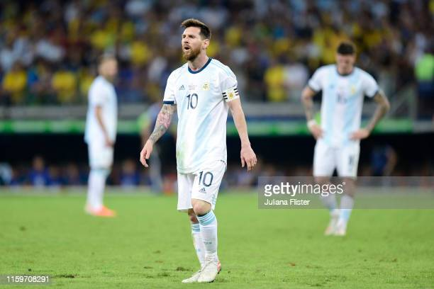 Lionel Messi of Argentina reacts during the Copa America Brazil 2019 Semi Final match between Brazil and Argentina at Mineirao Stadium on July 02...