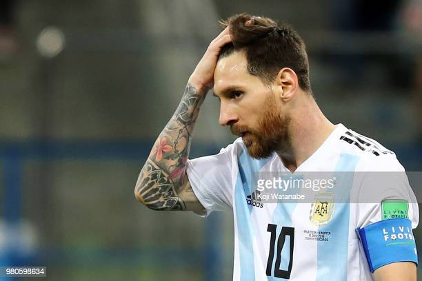 Lionel Messi of Argentina reacts of Argentina reacts during the 2018 FIFA World Cup Russia group D match between Argentina and Croatia at Nizhny...
