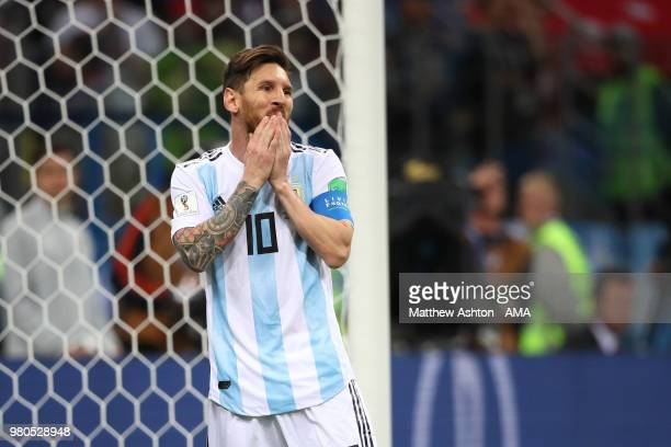 Lionel Messi of Argentina reacts to a missed chance during the 2018 FIFA World Cup Russia group D match between Argentina and Croatia at Nizhny...