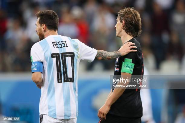 Lionel Messi of Argentina reacts to Luka Modric of Croatia during the 2018 FIFA World Cup Russia group D match between Argentina and Croatia at...