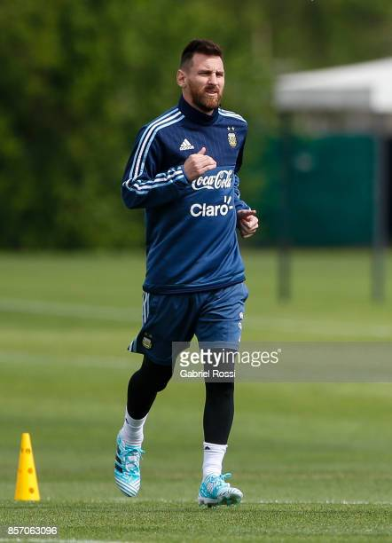 Lionel Messi of Argentina runs during a training session at Argentine Football Association 'Julio Humberto Grondona' training camp on October 03 2017...