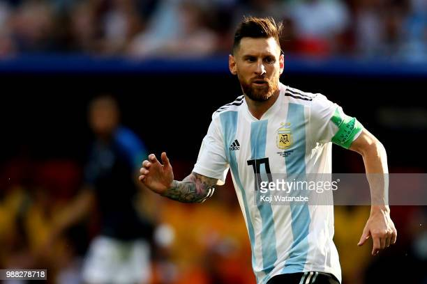 Lionel Messi of Argentina runs during the 2018 FIFA World Cup Russia Round of 16 match between France and Argentina at Kazan Arena on June 30 2018 in...