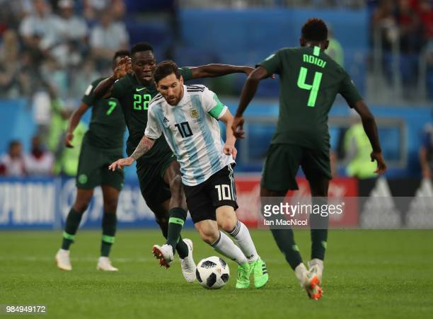 Lionel Messi of Argentina runs with the bal during the 2018 FIFA World Cup Russia group D match between Nigeria and Argentina at Saint Petersburg...