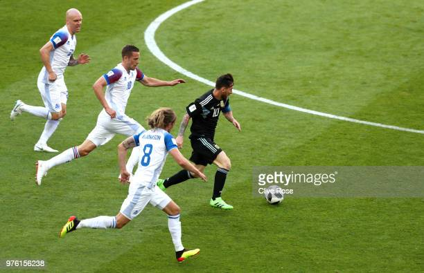 Lionel Messi of Argentina runs with the ball during the 2018 FIFA World Cup Russia group D match between Argentina and Iceland at Spartak Stadium on...