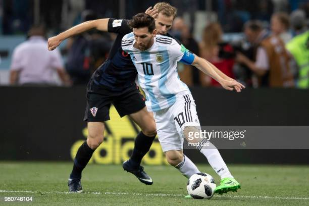 Lionel Messi of Argentina runs with the ball during the 2018 FIFA World Cup Russia group D match between Argentina and Croatia at Nizhny Novgorod...