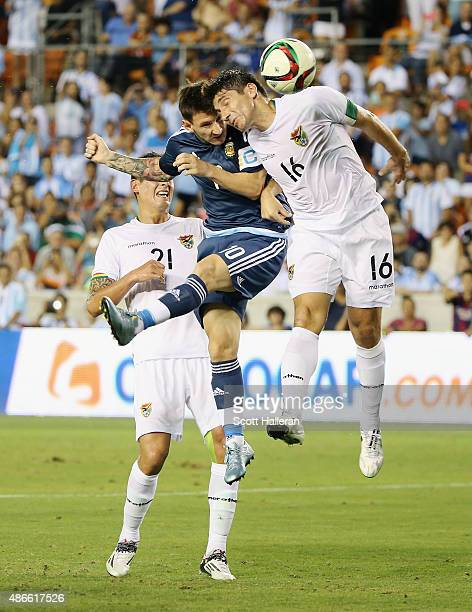 Lionel Messi of Argentina scores a goal past Ronald Raldes of Bolivia during their International friendly match at BBVA Compass Stadium on September...