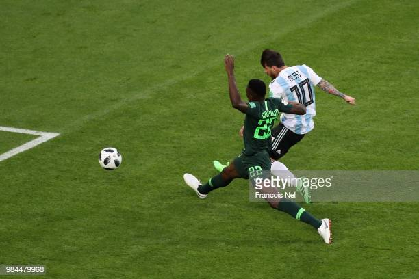 Lionel Messi of Argentina scores his team's first goal during the 2018 FIFA World Cup Russia group D match between Nigeria and Argentina at Saint...