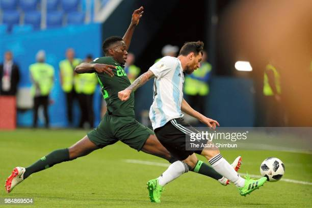 Lionel Messi of Argentina scores the opening goal with his team mates during the 2018 FIFA World Cup Russia group D match between Nigeria and...