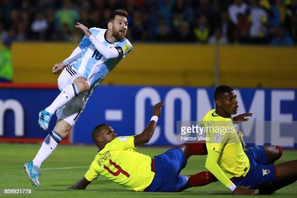 Lionel Messi of Argentina scores the second goal of his team during a match between Ecuador and Argentina as part of FIFA 2018 World Cup Qualifiers...