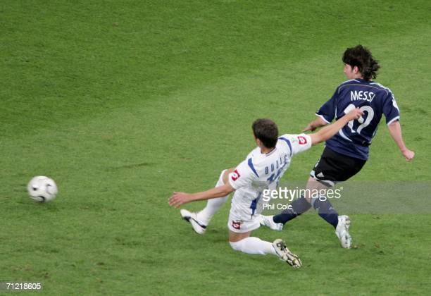 Lionel Messi of Argentina scores the sixth goal during the FIFA World Cup Germany 2006 Group C match between Argentina and Serbia Montenegro at the...