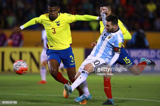 Lionel Messi of Argentina scores the third goal of his team during a match between Ecuador and Argentina as part of FIFA 2018 World Cup Qualifiers at...
