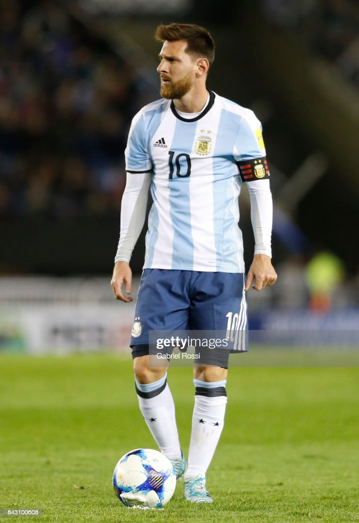 Lionel Messi of Argentina sets up for a free kick during a match between Argentina and Venezuela as part of FIFA 2018 World Cup Qualifiers at Monumental Stadium on September 05, 2017 in Buenos Aires, Argentina.