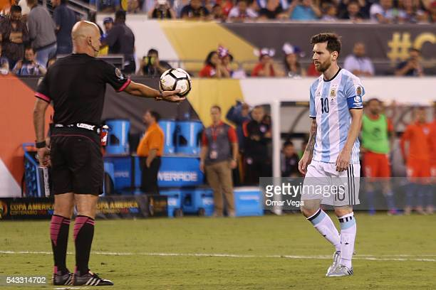 Lionel Messi of Argentina sets up for a panelty kick during the championship match between Argentina and Chile at MetLife Stadium as part of Copa...