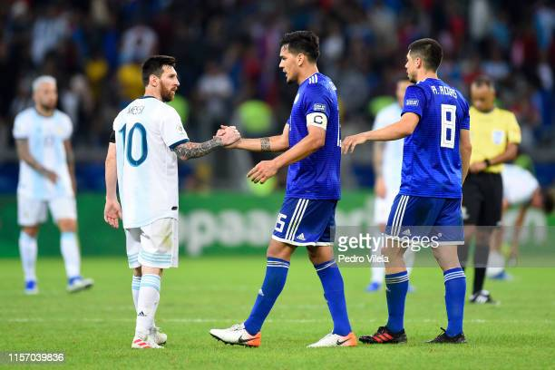 Lionel Messi of Argentina shakes hands with Gustavo Gomez of Paraguay after the Copa America Brazil 2019 group B match between Argentina and Paraguay...