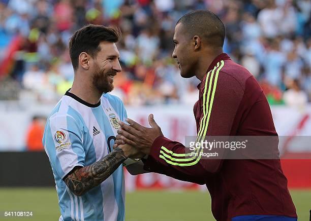Lionel Messi of Argentina shakes hands with Jose Salomon Rondon of Venezuela before the 2016 Copa America Centenario quarterfinal match at Gillette...