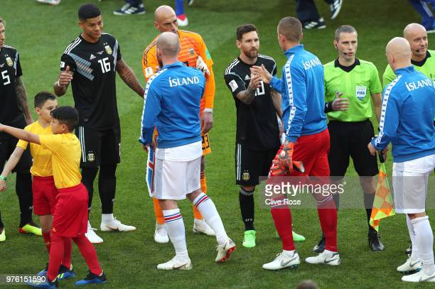 Lionel Messi of Argentina shakes the hand of Hannes Halldorsson of Iceland during the 2018 FIFA World Cup Russia group D match between Argentina and...