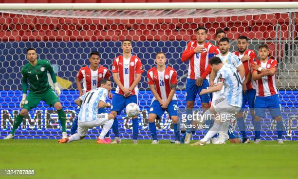 Lionel Messi of Argentina shoots a free kick during a group A match between Argentina and Paraguay as part of Conmebol Copa America Brazil 2021 at...