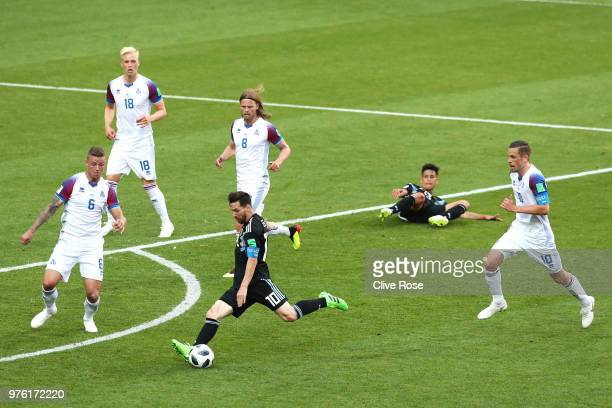Lionel Messi of Argentina shoots at goal during the 2018 FIFA World Cup Russia group D match between Argentina and Iceland at Spartak Stadium on June...