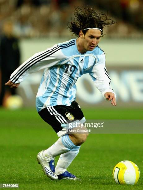 Lionel Messi of Argentina shoots for goal during the international friendly match between the Australian Socceroos and Argentina at the Melbourne...