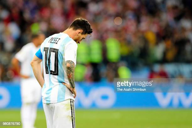 Lionel Messi of Argentina shows dejection after Croatia's second goal during the 2018 FIFA World Cup Russia Group D match between Argentina and...
