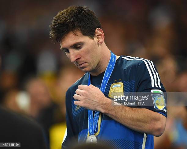 Lionel Messi of Argentina shows his dejection after the 0-1 defeat in the 2014 FIFA World Cup Brazil Final match between Germany and Argentina at...