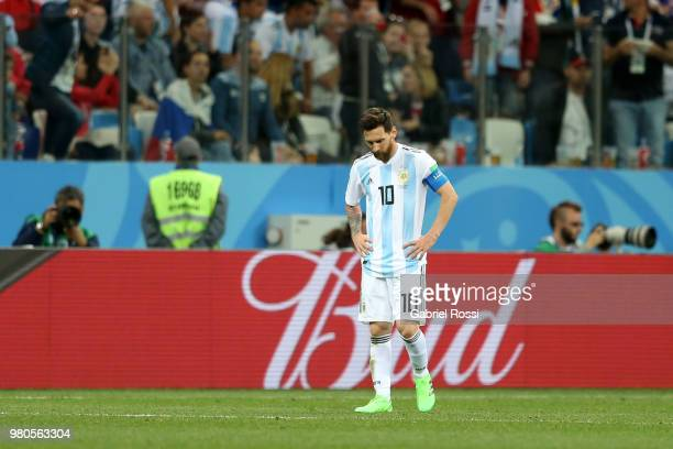 Lionel Messi of Argentina shows his dejection during the 2018 FIFA World Cup Russia group D match between Argentina and Croatia at Nizhny Novgorod...