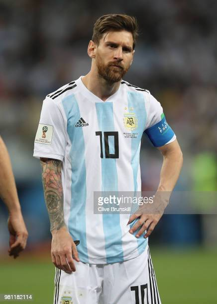 Lionel Messi of Argentina shows his dejection during the 2018 FIFA World Cup Russia group D match between Argentina and Croatia at Nizhniy Novgorod...