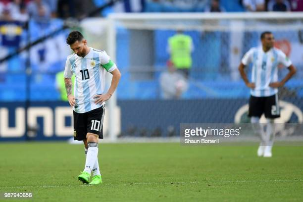 Lionel Messi of Argentina shows his dejection during the 2018 FIFA World Cup Russia Round of 16 match between France and Argentina at Kazan Arena on...