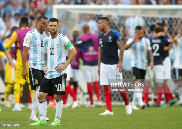 Lionel Messi of Argentina shows his dejection following during the 2018 FIFA World Cup Russia Round of 16 match between France and Argentina at Kazan...