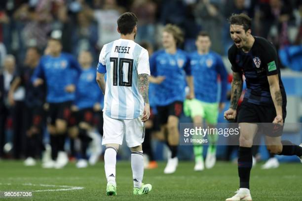 Lionel Messi of Argentina Sime Vrsaljko of Croatia during the 2018 FIFA World Cup Russia group D match between Argentina and Croatia at the Novgorod...
