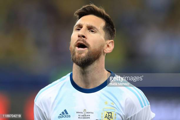 Lionel Messi of Argentina sings the national anthem prior to the Copa America Brazil 2019 Semi Final match between Brazil and Argentina at Mineirao...