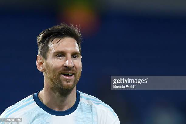 Lionel Messi of Argentina smiles during a match between Argentina and Ecuador as part of South American Qualifiers for Qatar 2022 at Estadio Alberto...
