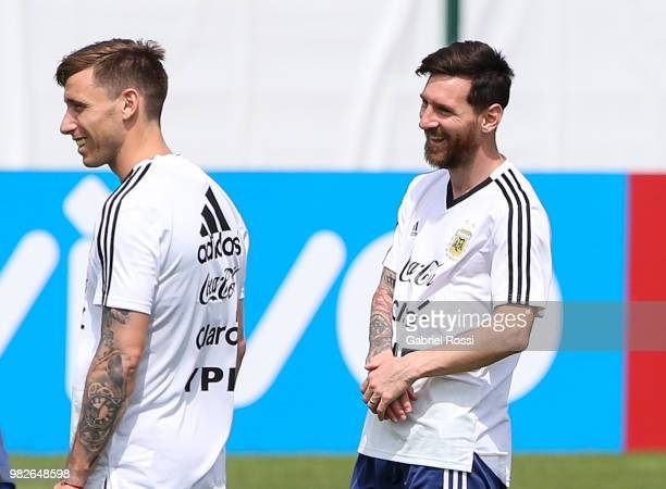 Lionel Messi of Argentina smiles during a training session at Stadium of Syroyezhkin sports school on June 24 2018 in Bronnitsy Russia